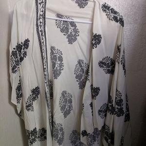 Chiffon White and Blue Kimono